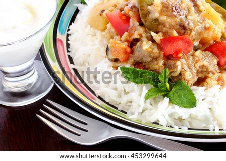 Pakistani meat and rice dish - stock photo