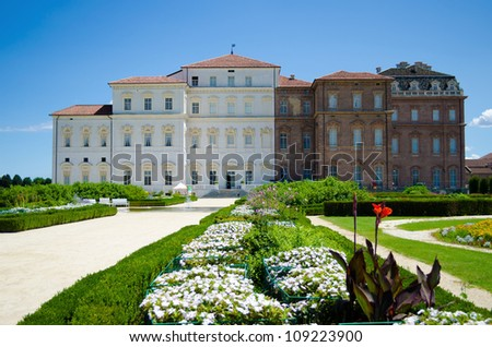 Palace and gardens of Reggia di Venaria near Turin, Italy - stock photo