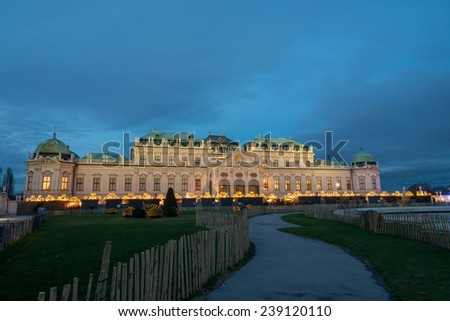 Palace Belvedere with Christmas Market in Vienna, Austria - stock photo