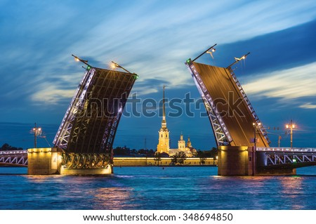 Palace Bridge, Peter and Paul Cathedral. The White Nights in St.-Petersburg, Russia - stock photo