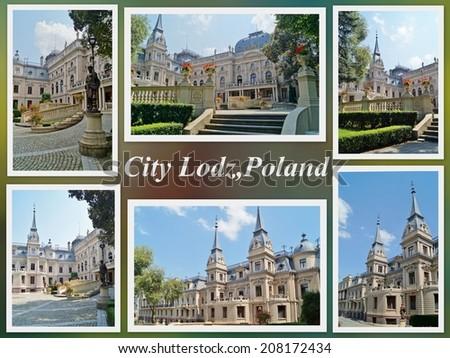Palace in neo-baroque style of textile entrepreneur - Israel Poznanski - in Lodz, Poland - photo collage - stock photo