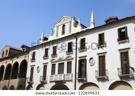 Palace in Padua, Italy. Old Mediterranean architecture.