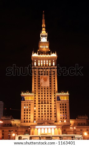 Palace of Culture and Science in Warsaw on the 1st anniversary of pope's death