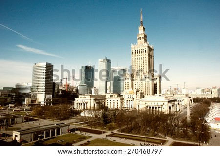 palace of culture and science landmark of Warsaw - center of the Polish capital