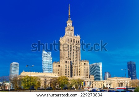 Palace of Culture and Science (Palac Kultury i Nauki) at morning, Warsaw city downtown, Poland.