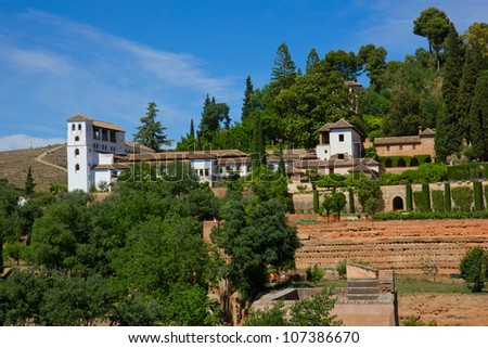 palace of Generalife  in Alhambra, Granada, Spain - stock photo