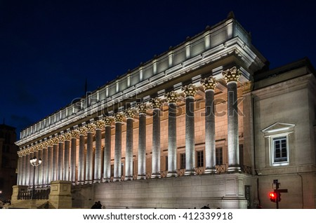 Palace of justice at night, Lyon, France - stock photo