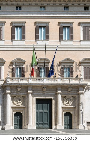 Palace of Montecitorio in Rome, Italy  - stock photo