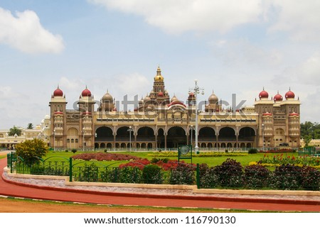 Palace of Mysore in India - stock photo