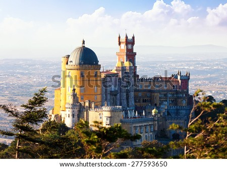 Palace of Pena in Sintra, Portugal - stock photo