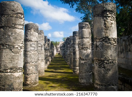 Palace of 1000 pillars in mayan city of  Chichen-Itza, Mexico - stock photo