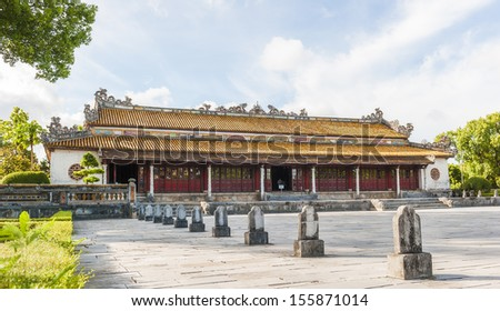 Palace of Supreme Harmony (Dien Thai Hoa) at Citadel of Hue, where the Kings of Nguyen Dynasty got the Coronation. The field in front of the Palace are for the  officials standing in congress - stock photo