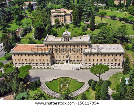 Palace of the Governorate of Vatican and the Vatican Gardens. View from the dome of St. Peter's Basilica