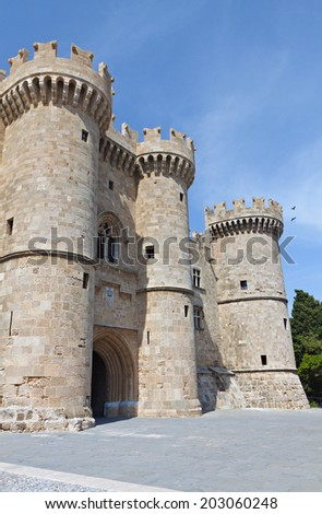 Palace of the Grand Master at Rhodes island in Greece. Main entrance - stock photo