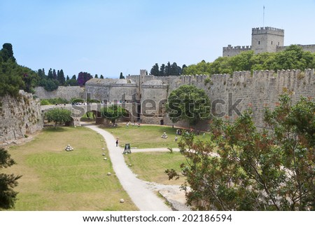 Palace of the Grand Master at Rhodes island in Greece. The D'Amboise gate - stock photo