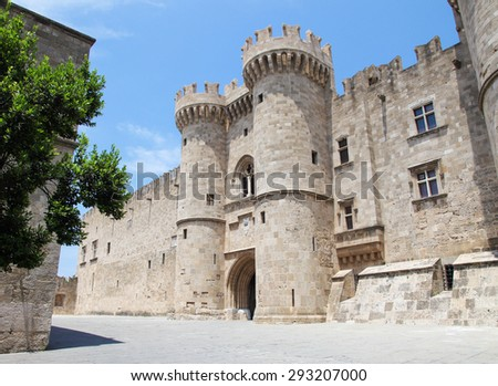 Palace of the Grand Master of the Knights of Rhodes, a medieval castle of the Hospitaller Knights on the island of Rhodes, Greece. - stock photo