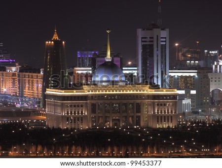 Palace of the President of the Republic of Kazakhstan. Night view.
