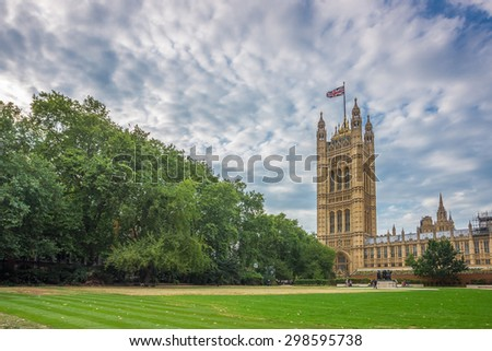 Palace of Westminster, Houses of Parliament and Victoria Tower shot from Victoria Tower Gardens, London, UK - stock photo