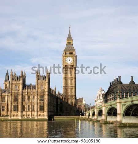 Palace of Westminster seen from South Bank - stock photo