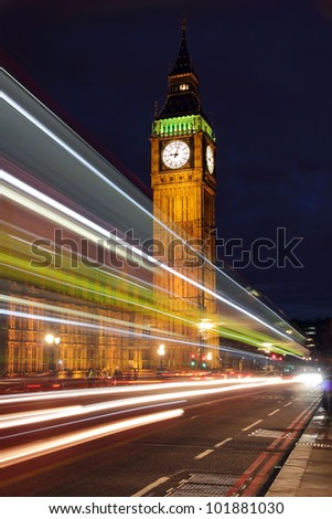 Palace of Westminster seen from Westminster Bridge at Night - stock photo