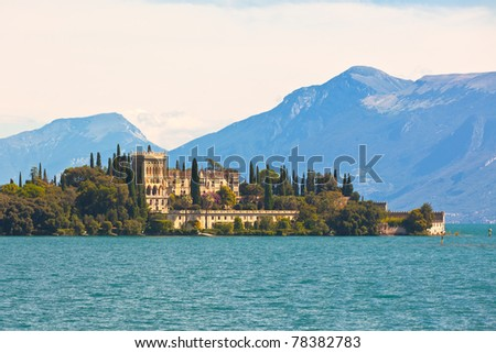 Palace on Lake Garda in Italy. Horizontal shot - stock photo