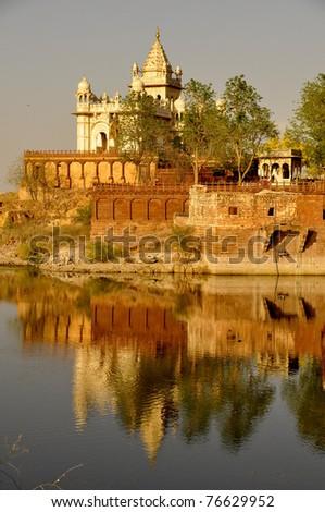Palace over water, jodhpur - stock photo
