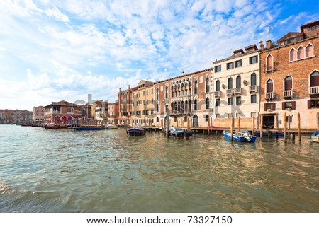 Palaces on Grand Canal Venice Italy. Vibrant color summer shot. - stock photo