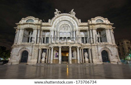 Palacio de Bellas Artes (Spanish for Palace of Fine Arts). Mexico City's main opera and theatre house as seen at night. A extravagant marble neoclassical structure inaugurated in 1934. - stock photo
