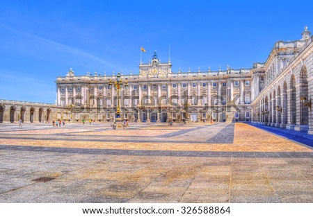Palacio Real in Madrid in high dynamic range effect - stock photo