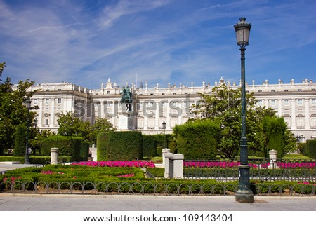 Palacio Real - royal palace in Madrid - stock photo