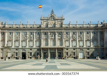 Palacio Real Royal palace in Madrid Spain - stock photo