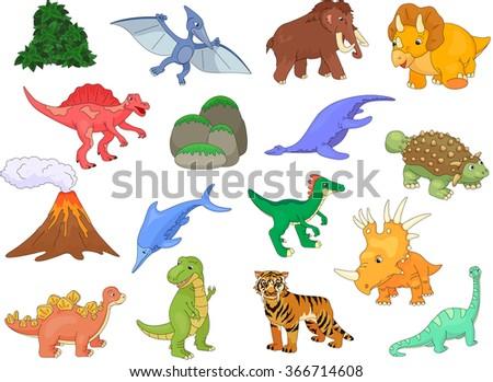 Palaeosaurus, styracosaurus, spinosaurus, ichthyosaur, diplodocus, tyrannosaur, pterodactyl, triceratops, pliosaur, stegosaurus, mammoth, saber-toothed tiger, volcano and plant. illustration - stock photo