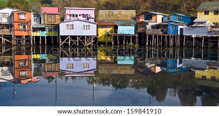 Palafitos Houses, Palafitos Houses in Castro, capital of Chiloe, Patagonia, Chile - stock photo