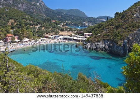 Palaiokastritsa beach at Corfu island in Greece - stock photo