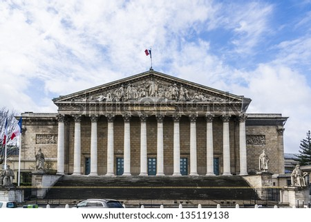 Palais Bourbon (1724) - palace located on left bank of Seine, across Place de la Concorde in Paris. Palais Bourbon is seat of French National Assembly - lower legislative chamber of French government.
