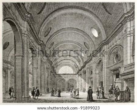 Palais de Justice interior (salle-de-pas-perdus), Paris. Created by Best, Leloir, Hotelin and Regnier, published on Magasin Pittoresque, Paris, 1845 - stock photo