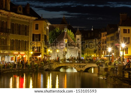 Palais de l'isle by night in Annecy - France