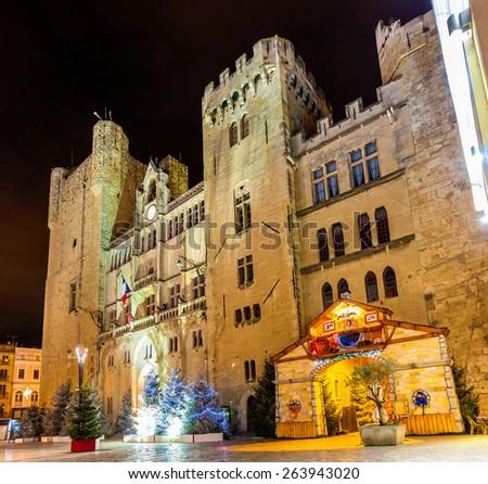 Palais des archeveques, the city hall of Narbonne - France, Languedoc-Roussillon - stock photo