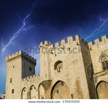 Palais des Papes - Palace of the Popes during a storm - Avignon, France. - stock photo