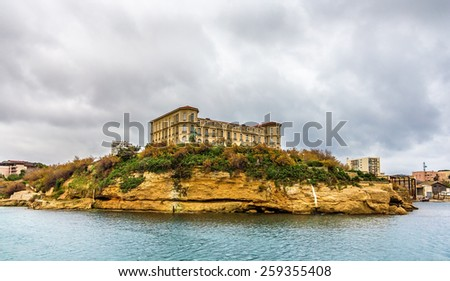 Palais du Pharo in Marseille as seen from the sea - France - stock photo