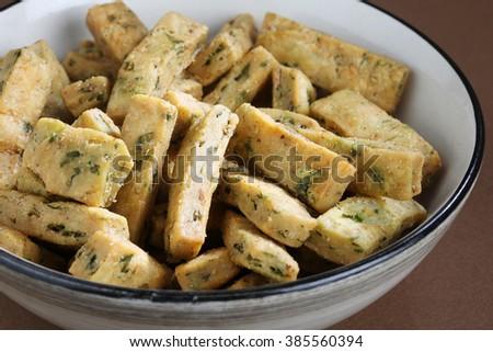 Palak Savoury snack or spinach  Savoury snack,indian food,indian Savoury snack - stock photo