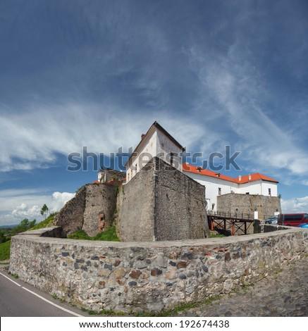 Palanok Castle (or Mukachevo Castle, Ukraine, built in 14th century)  - stock photo