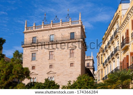 Palau de la Generalitat Valenciana Palace in Valencia Spain - stock photo