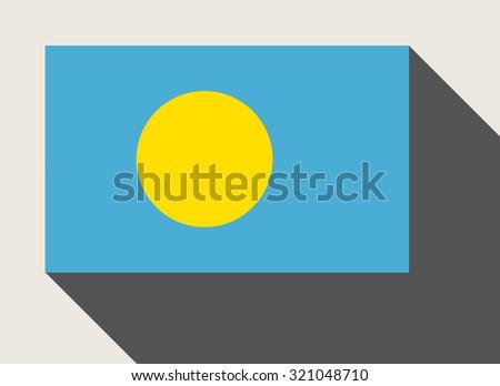 Palau flag in flat web design style. - stock photo