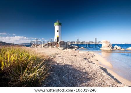 Palau Lighthouse Punta Faro, Palau North Sardinia, Italy - stock photo