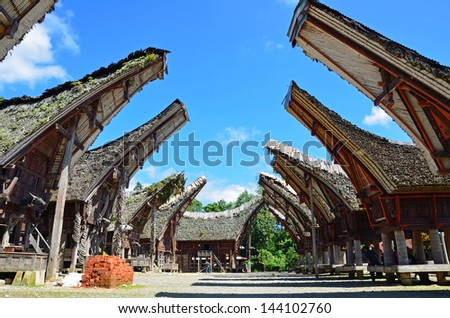 PALAWA, INDONESIA � JUNE 20: Tongkonan on June 20, 2013 in Palawa, Indonesia. Tongkonan is the traditional ancestral house of the Torajan people and it has a boat-shaped and saddleback roof. - stock photo