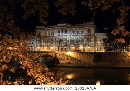 Palazzaccio building at night, the Italian supreme Court of Justice, Rome - stock photo