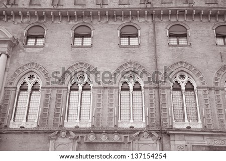 Palazzo Comunale Palace Building - Cityhall, Bologna; Italy in Black and White Sepia Tone - stock photo