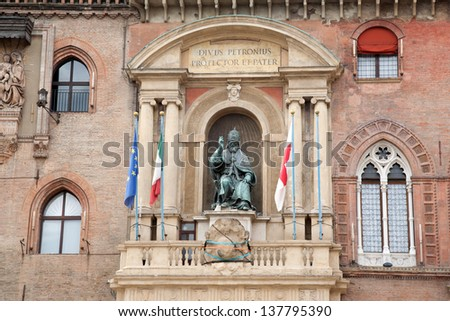 Palazzo Comunale Palace - Cityhall with Pope Gregory XIII Statue, Bologna, Italy - stock photo