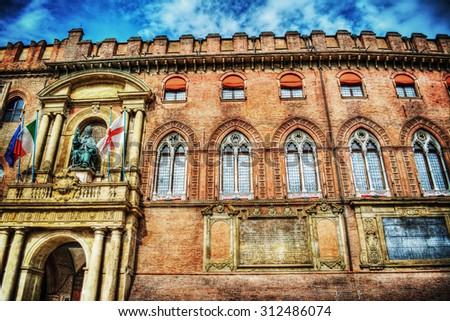 Palazzo D'Accursio in Bologna, Italy - stock photo